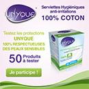 échantillons tests de serviettes hygiéniques Unyque