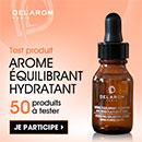 échantillon test de soin hydratant Delarom