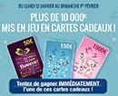 Cartes cadeaux Carrefour à gagner