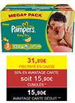 Couches Pampers moins chères