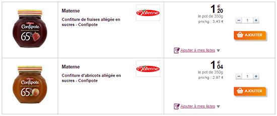 Confitures Confipote Materne chez Carrefour