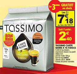 Dosettes Tassimo moins chères chez Auchan