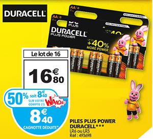 Promotion Duracell à Auchan