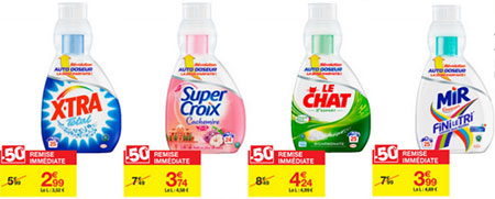Les promotions sur des lessives chez Carrefour