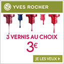 3 vernis Yves Rocher pour 3€
