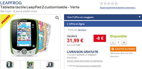 Tablette enfant LeapPad 2 en promotion chez Carrefour