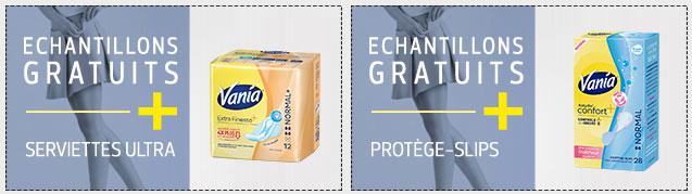 Échantillons gratuits de serviettes hygiéniques Vania