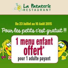 Réduction La Pataterie : 1 menu enfant offert