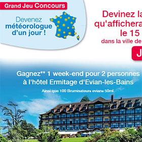 1 séjour à Evian-les-Bains et 100 brumisateurs Evian à gagner