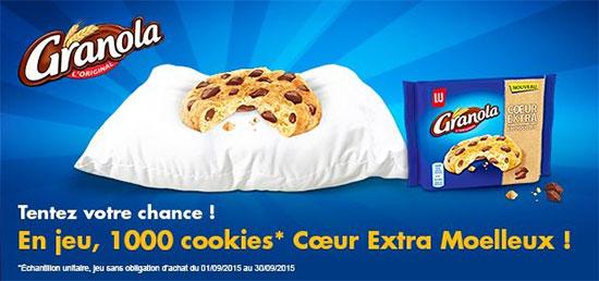 1000 Cookies Cœur Extra Moelleux Granola à remporter
