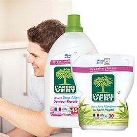 L'Arbre Vert : échantillons de liquide vaisselle et de lessive