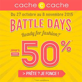 Battle Days Cache Cache : jusqu'à -50% de réduction