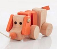 Cadeau chien à tirer en bois
