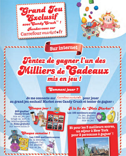 Codes bonus pour le jeu Carrefour Market Candy Crush