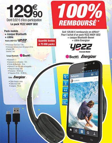 Pack smartphone YEZZ gratuit
