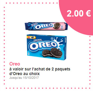 Bon de r duction 2 paquets de biscuits oreo gratuits - Alinea bon de reduction ...