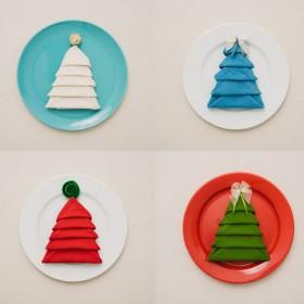 Astuce : Pliez vos serviettes de table en forme de sapin de Noël