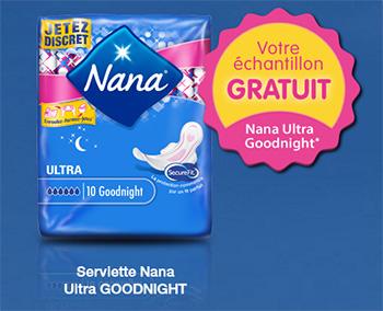 Échantillon gratuit de serviette Nana Ultra Goodnight