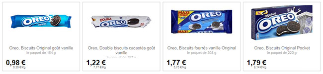 Exemples de prix de paquets Oreo dans un magasin Intermarché