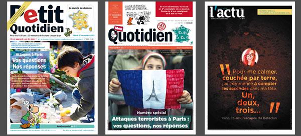 Journaux Petit Quotidien gratuits :  Attentats de Paris