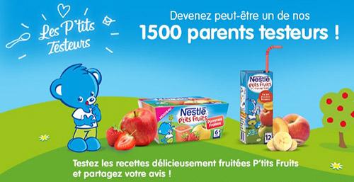 Testez les P'tits Fruits Nestlé Bébé