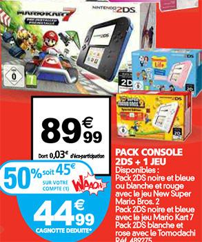 Pack Nintendo 2DS avec 1 jeu en promotion chez Auchan
