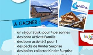 Jeu Club Kinder Vacances hiver 2016 : 1111 lots à gagner