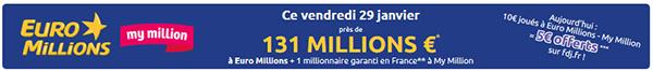 Tirage Euro Millions vendredi 29 janvier