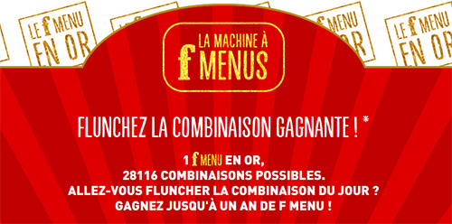 Jeu La machine à F menus