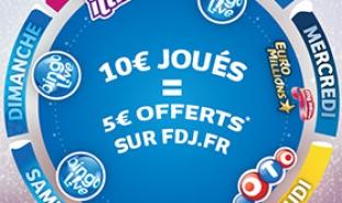 Promotion FDJ Euro Millions : 10€ joués = 5€ offerts