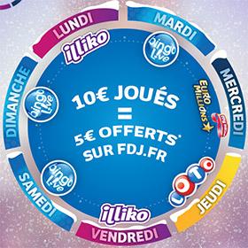 Promotion FDJ Euro Millions et Loto : 10€ joués = 5€ offerts