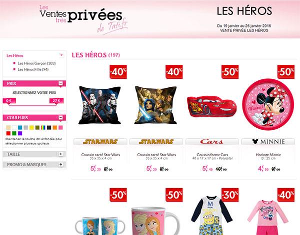 Vente très privée de Tati.fr : Les Héros