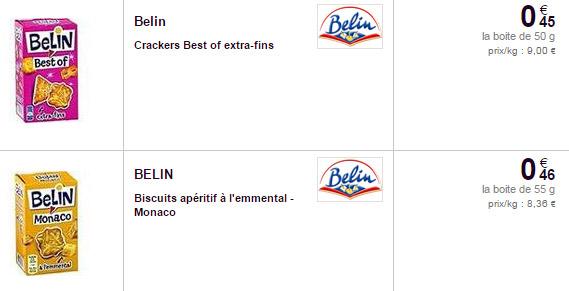 Exemples de prix de paquets Belin dans un magasin Carrefour