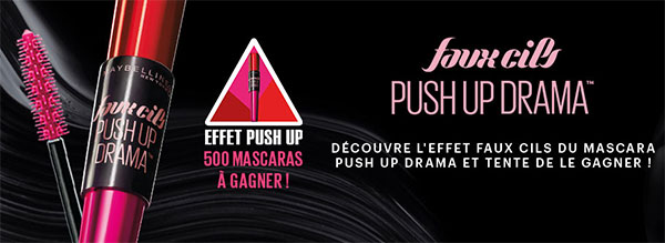 Remportez l'un des 500 mascaras Maybelline Push Up Drama