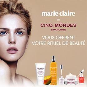 Jeu Marie Claire : 10 coffrets de beauté Cinq Mondes à gagner