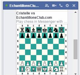 Commencer partie jeu d'echecs sur Facebook Messenger
