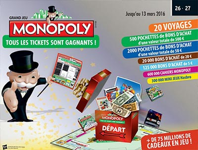 monopoly intermarch jeu 2016 de 76 millions de cadeaux. Black Bedroom Furniture Sets. Home Design Ideas