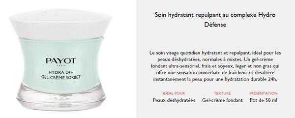 Test de gel crème Hydra24+ de Payot