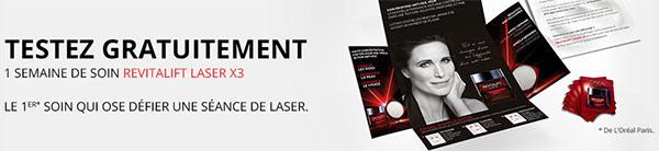 Testez gratuitement le soin Revitalift Laser X3 de L'Oréal Paris