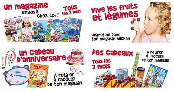 Club Rik et Rok Auchan : Cadeaux gratuits pour enfants