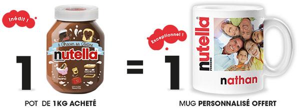 mug nutella personnalisable offert pour 1 pot de 1kg achet 233