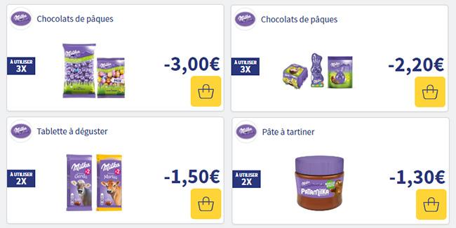 Coupons de réduction à imprimer pour des chocolats de Pâques Milka