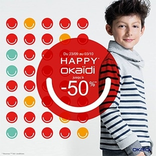 Okaïdi The Happy Prices : Vêtements enfant jusqu'à -50%