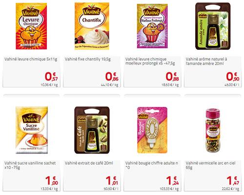 Exemples de prix de produits Vahiné dans un magasin Auchan