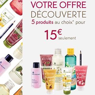 Yves Rocher : 5 produits pour 15€ + 2 cadeaux + échantillons
