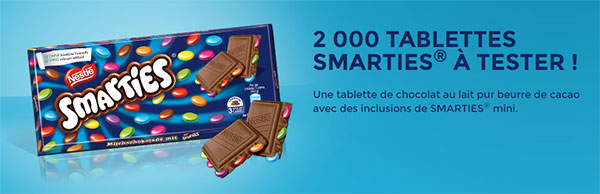 tablettes de chocolat Smarties gratuites à tester