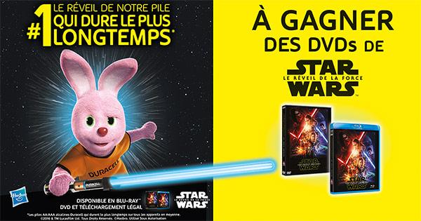 """Jeu Duracell : 500 DVD Star Wars """"Le réveil de la force"""" à gagner"""