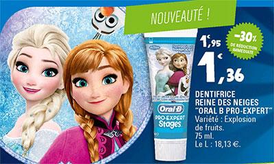 Promotion Leclerc Dentifrice Reine des Neiges Oral-B