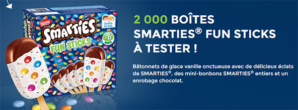 2000 boites de 6 minis glaces Smarties Fun Sticks gratuites