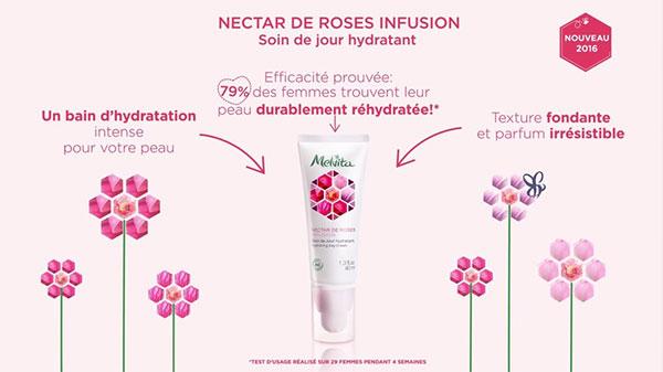 Testez gratuitement le Nectar de Roses Infusion de Melvita : 100 tubes gratuits